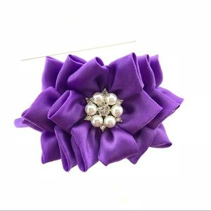 Purple Flower Headband with Rhinestone, handmade